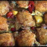 Garlicky Chicken Thighs in Red Pepper Sauce