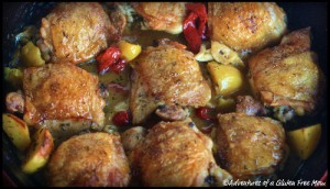 Garlicky Chicken Thighs with Red Pepper Sauce1