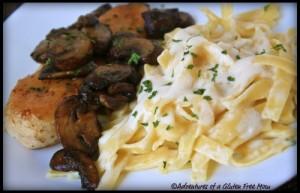 Gluten-Free Chicken Marsala with Dairy-Free Pasta Alfredo