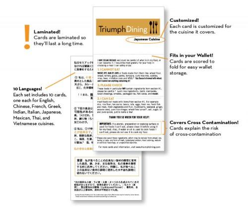 Gluten Free Restaurant Cards Thai